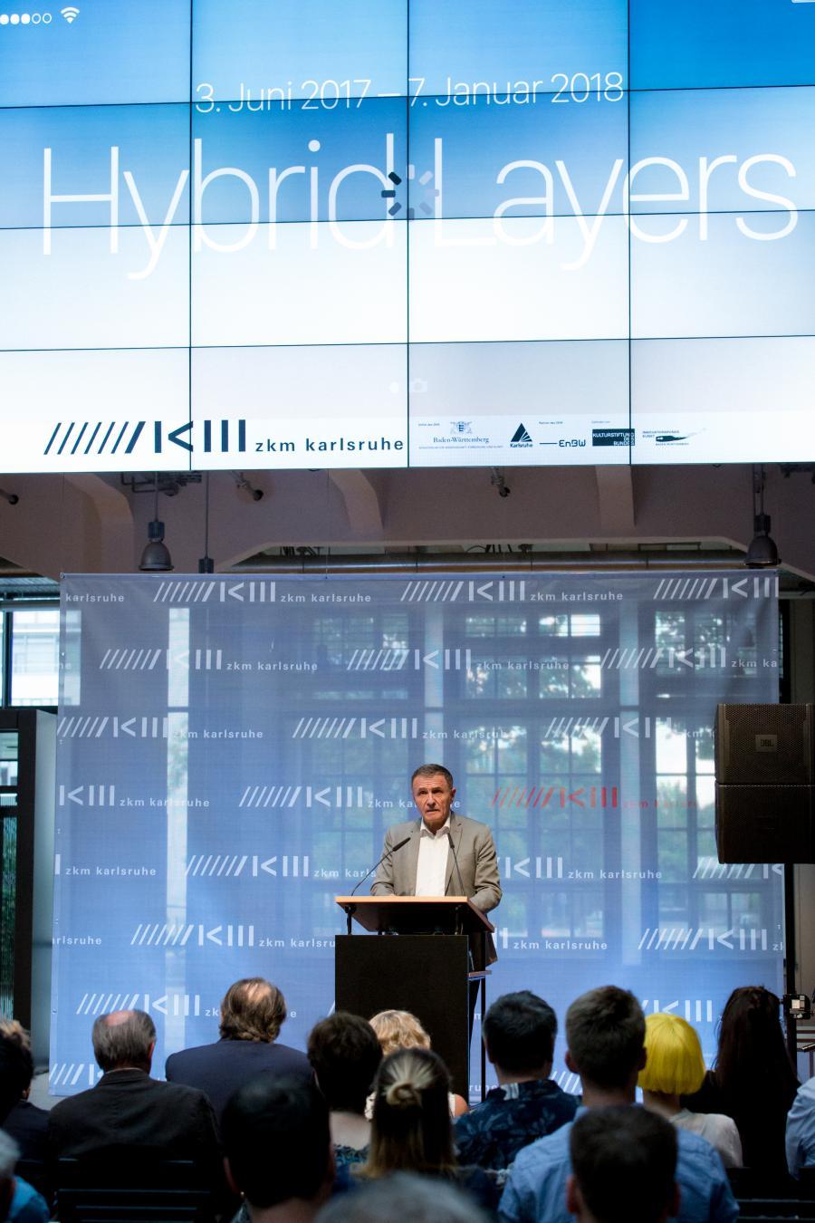 Wolfram Jäger, Mayor of the city of Karlsruhe, speaks at the opening