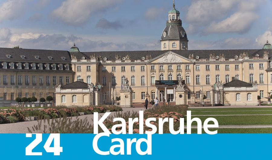You can see the Castle of Karlsruhe with the lettering »24 Karlsruhe Card«