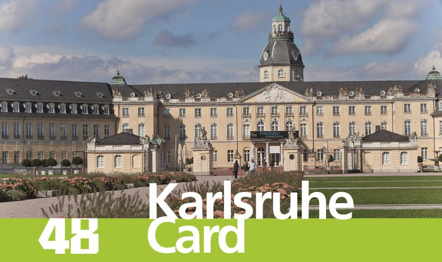 You can see the Castle of Karlsruhe with the lettering »48 Karlsruhe Card«