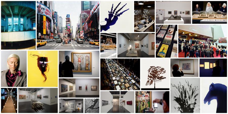 Viele kleine Bilder mit Ausstellungsansichten.