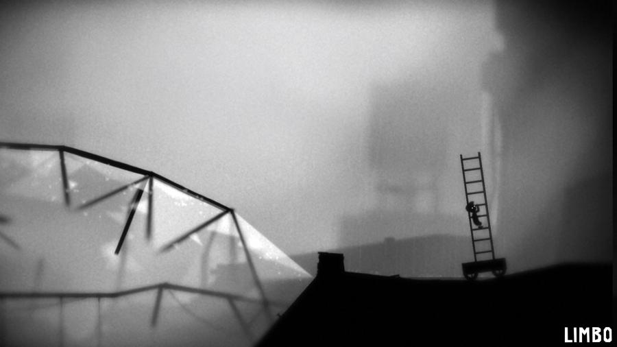 In a black and white scenario a small character with a hat on his head climbs up a leader