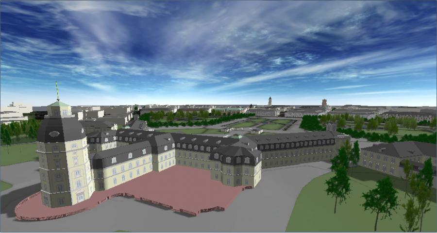 A virtual view of the back side of Karlsruhe Palace