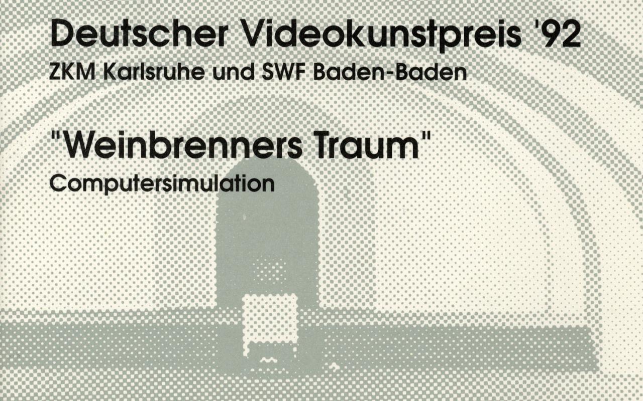 Cover der Publikation »Drei Projekte. 'Bitte berühren', interaktive Videoinstallationen. Deutscher Videokunstpreis '92, ZKM Karlsruhe und SWF Baden-Baden. 'Weinbrenners Traum', Computersimulation«