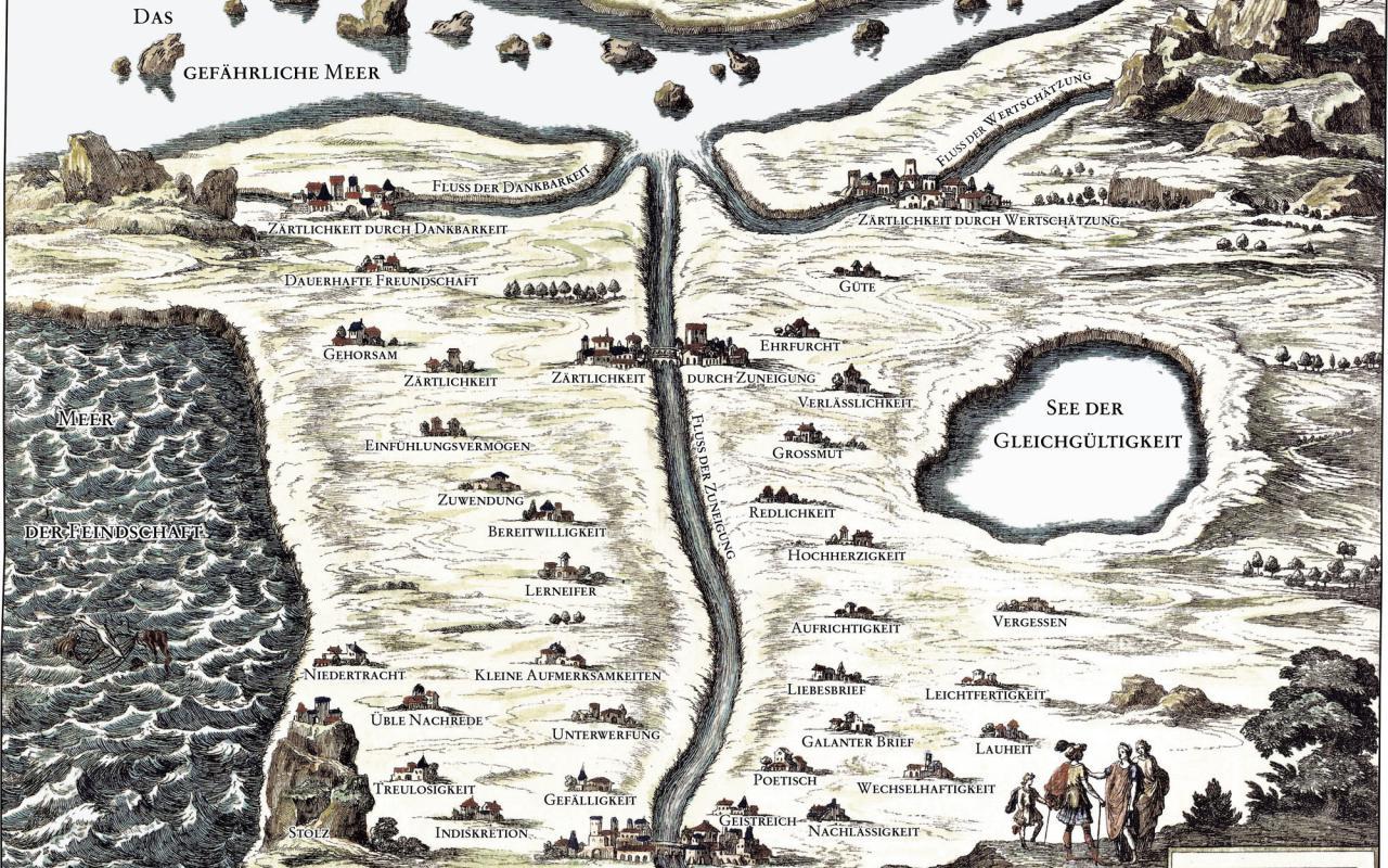 Eine kolorierte Landkarte aus dem 17. Jahhundert. Die Namen der Dorfer und Gewässer sind Bezeichnungen von Gefühlen.