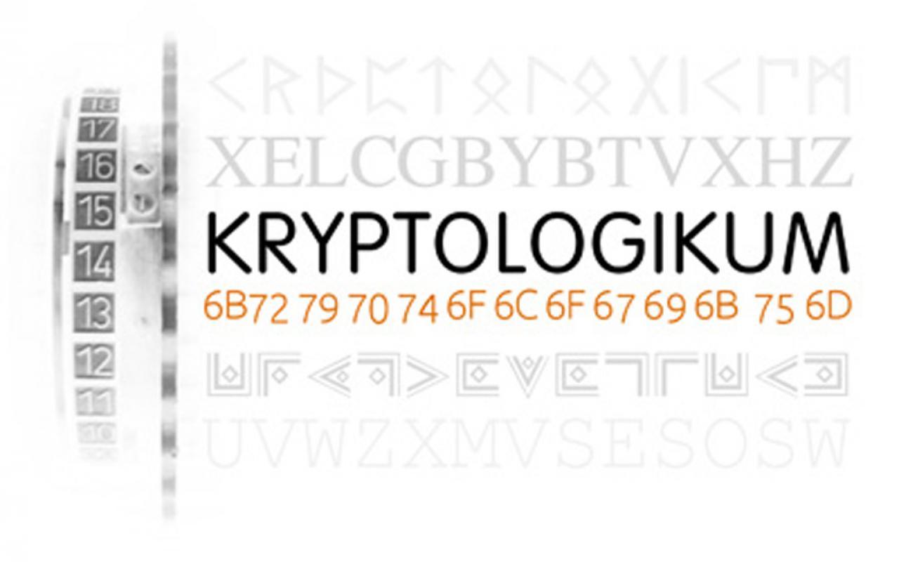 """""""Kryptolgikum"""" in Großbuchstaben, darunter ein Zahlencode."""