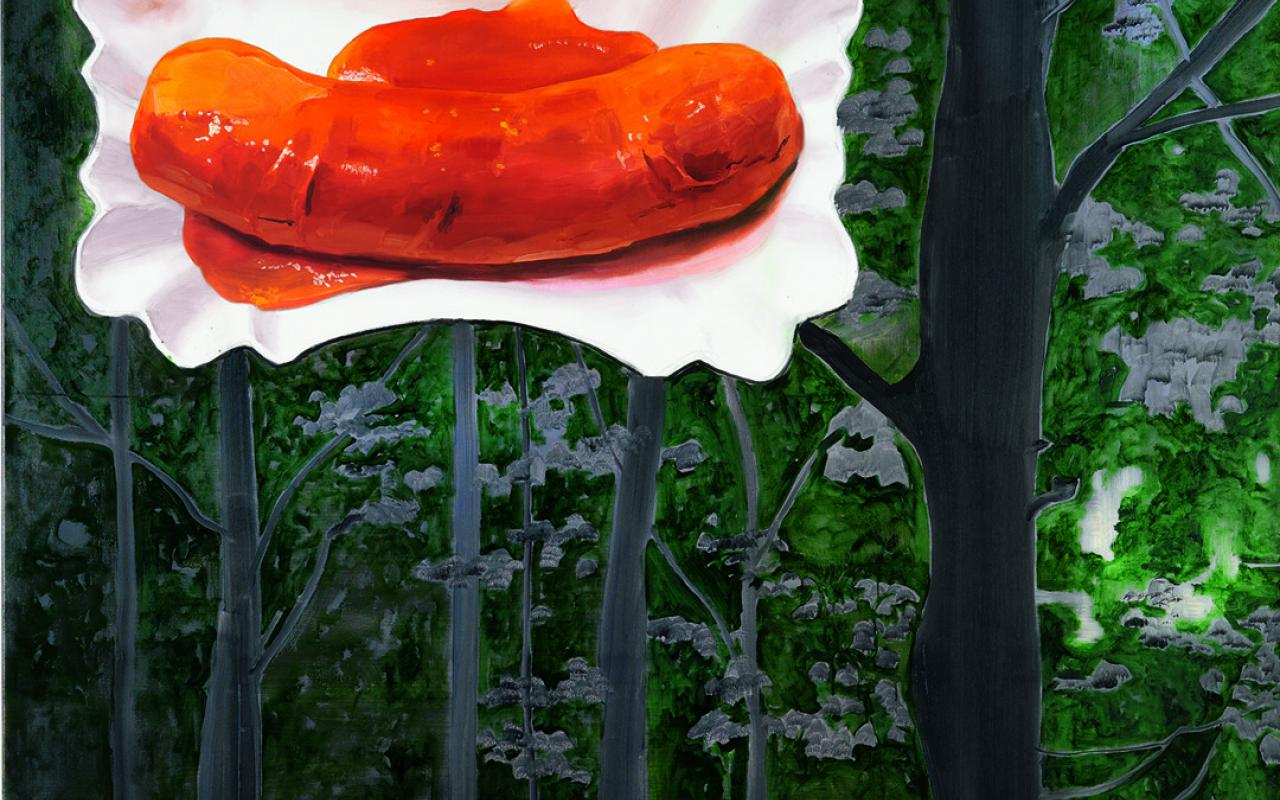 A curry sausage seems to float on top of trees.