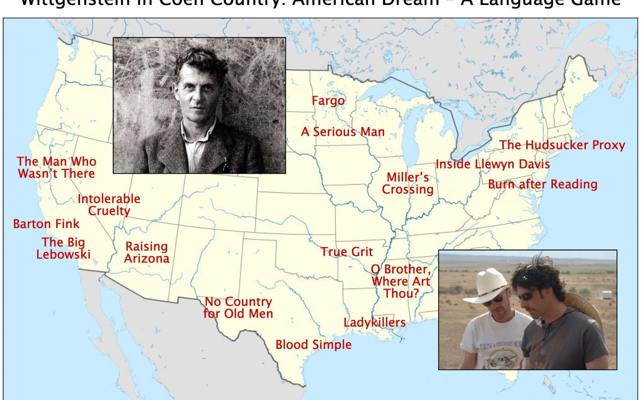 Vor gelber Landkarte mit roten Bezeichnungen befinden sich zwei Fotografien. Die eine in s/w zeigt das Halbportrait eines Mannes, die andere zwei Männer mit Sonnenbrille und Cowboyhut.