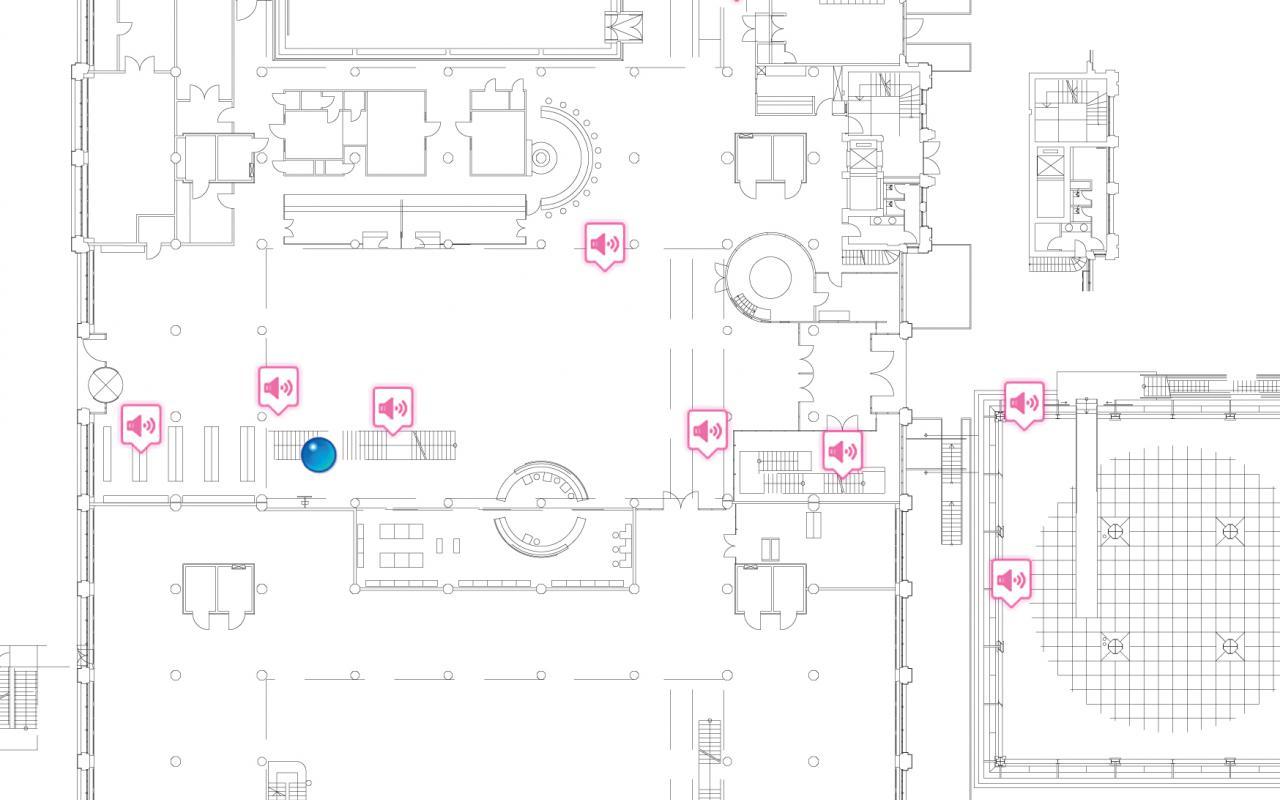 Benutzeroberfläche: Plan des Museums mit eingezeichneten Mikrofonen