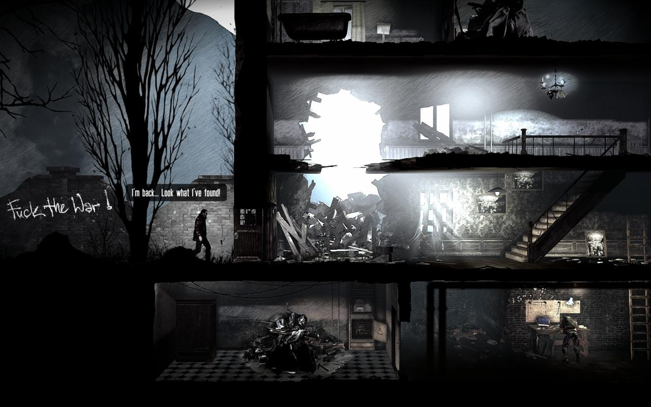 Screenshot taken from a Computergame: war scene with bright letters that say Fuck the War