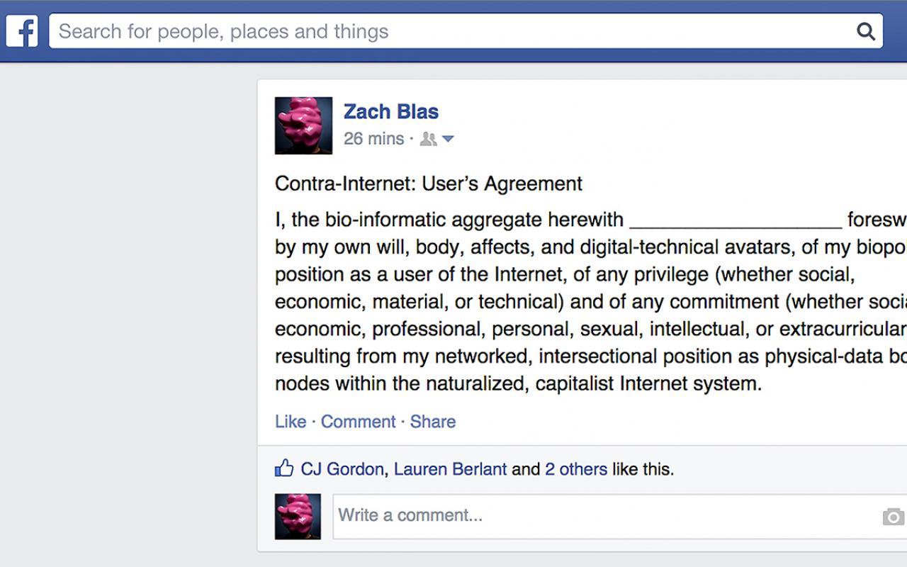 Bildschirmfoto eines Facebook-Posts von Zach Blas