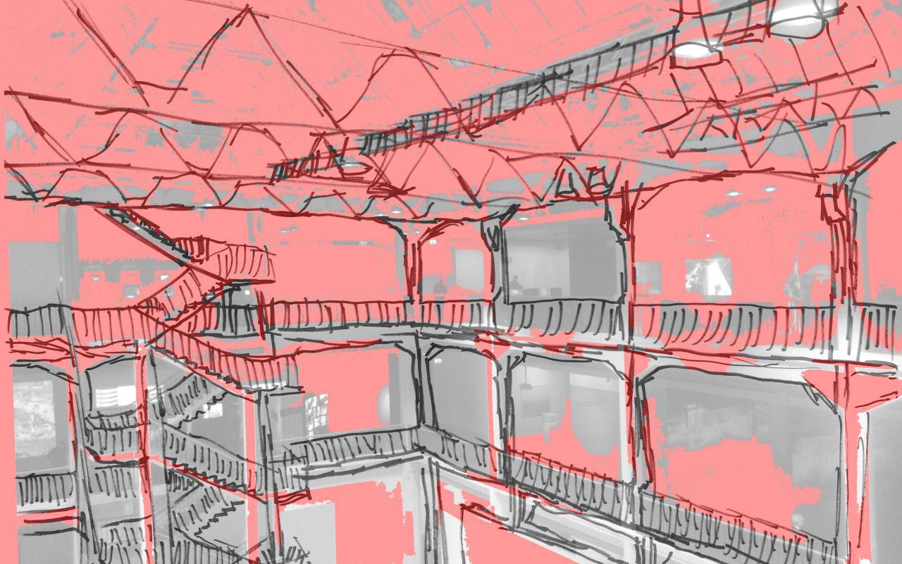 Rote und graue Malerei eines Lichthofs