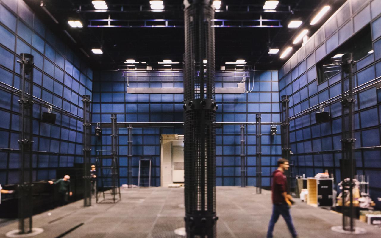 Huge microphones in a room