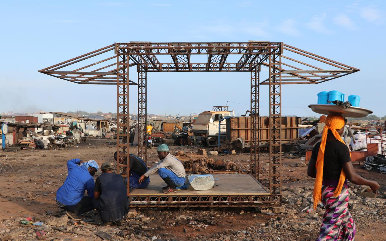 View on the Agbogbloshi junkyard in Ghana