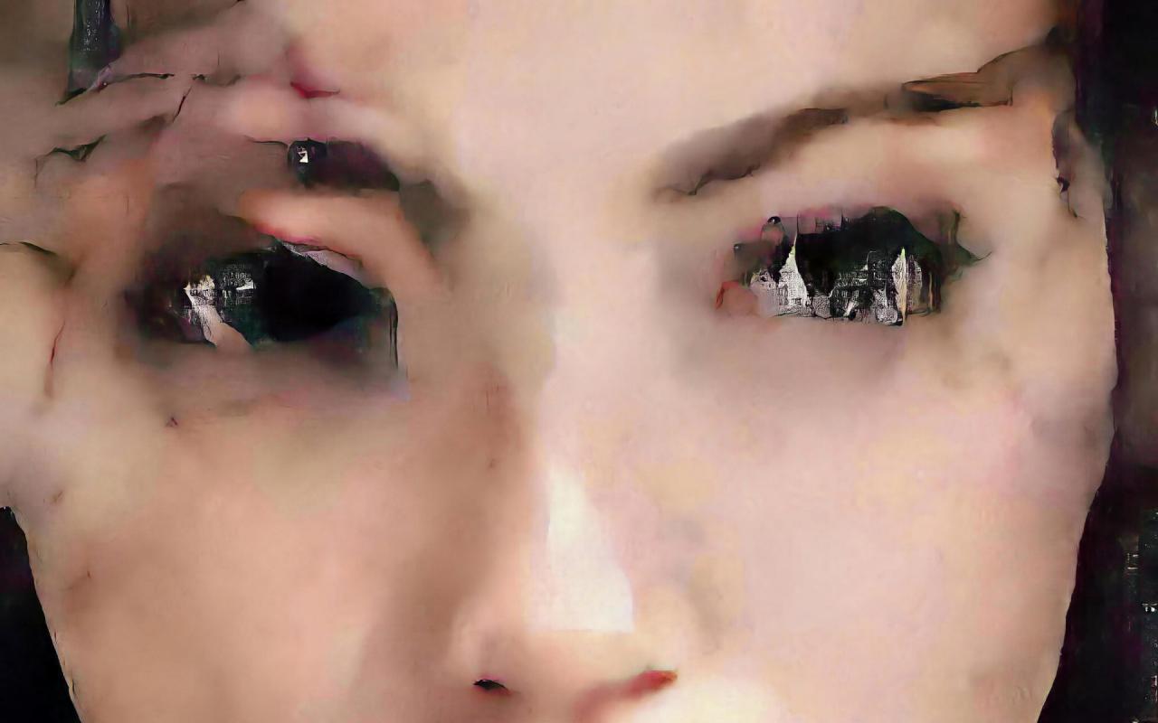 Gesicht einer Frau. Das Portrait, das wie ein Gemälde wirkt, wurde mit Hilfe künstlicher Intelligenz erstellt.