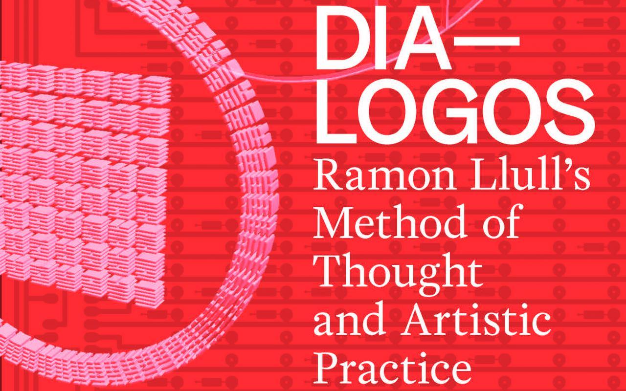 Cover der Publikation »DIA-LOGOS«: weiße Schrift auf rotem Grund