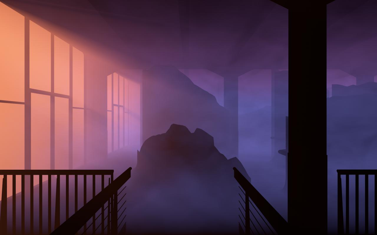 A rendered graphic in purple shades, it shows a shady rock landscape inside a building.