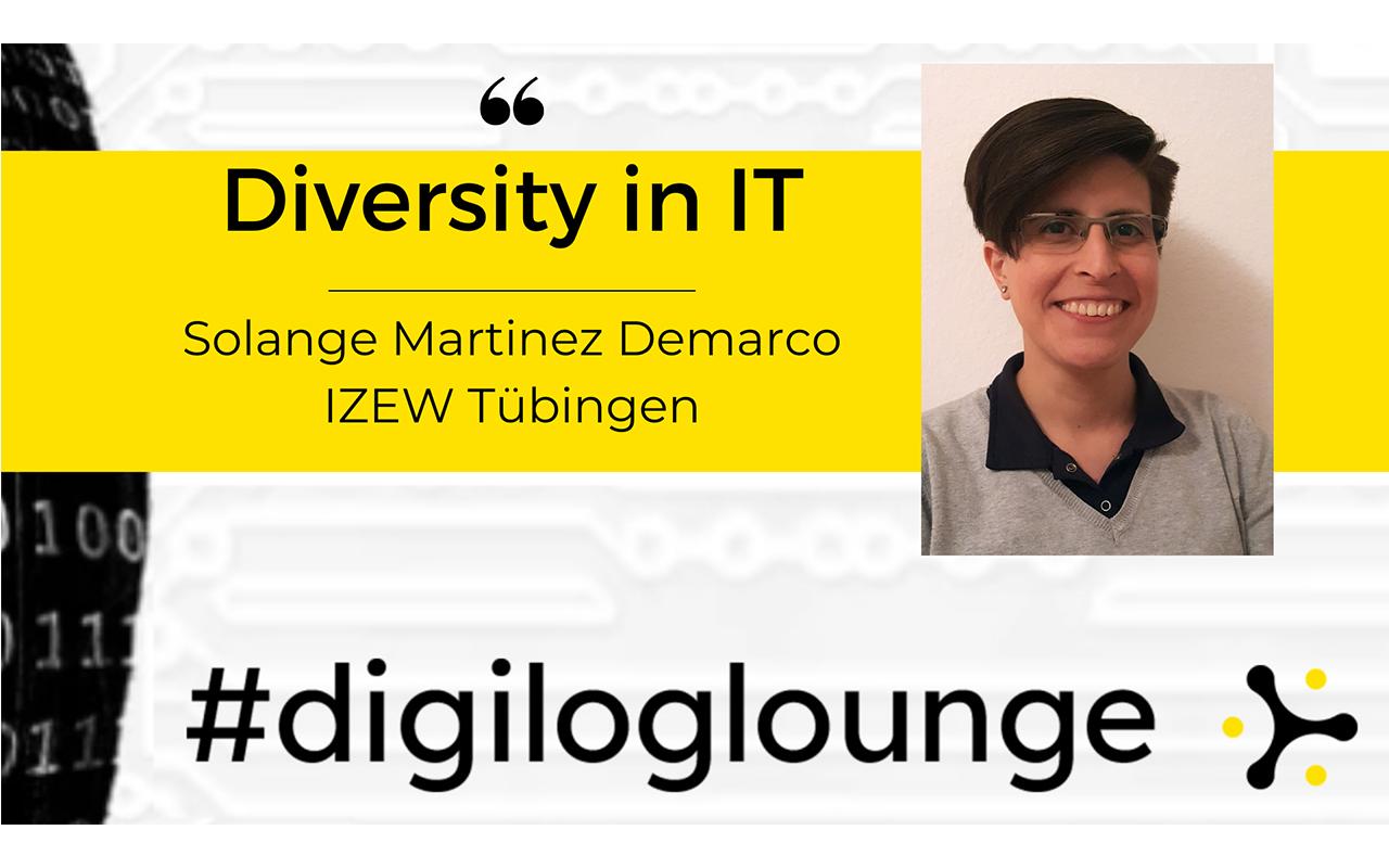 """Titel der Veranstaltung mit Foto der Teilnehmerin Solange Martinez Demarco. Über dem Bild liegt das Banner """"#digiloglounge""""."""