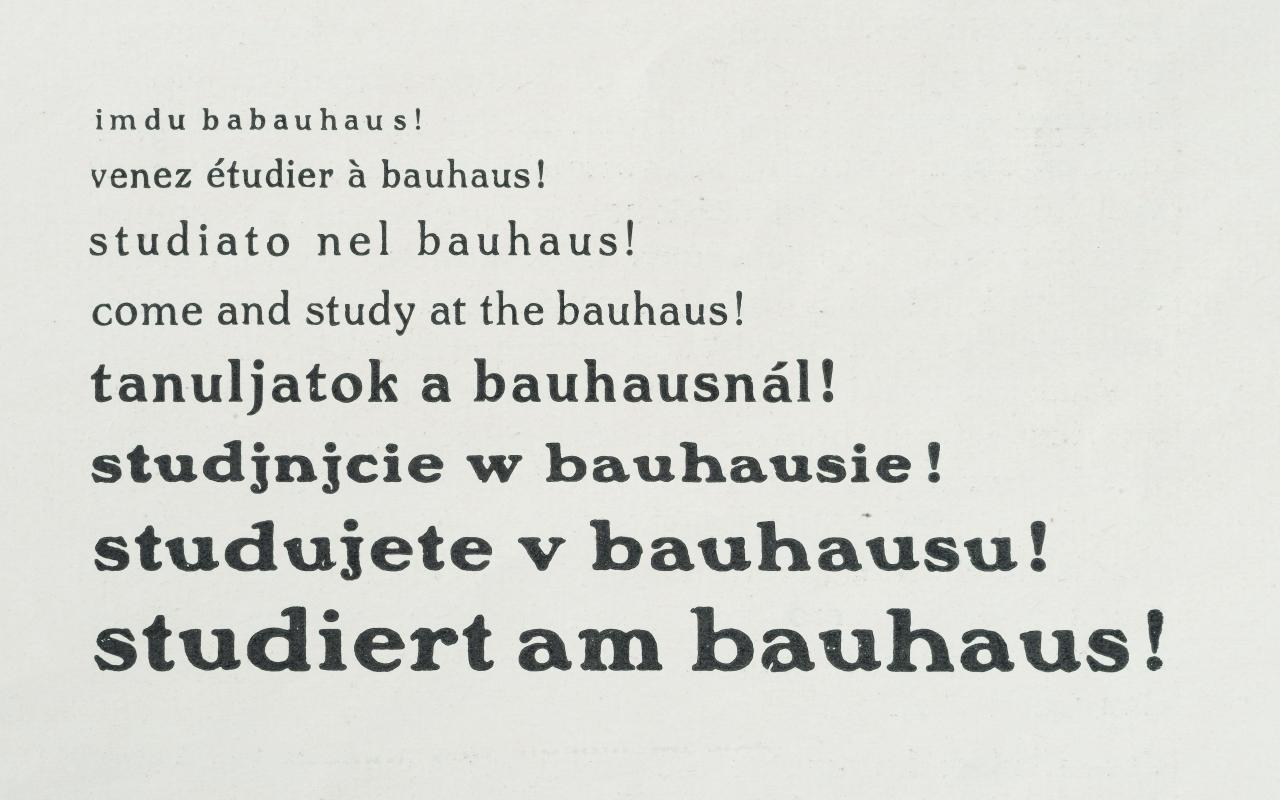 Ein immer größer werdender Schriftzug fordert in verschiedenen Sprachen dazu auf am Bauhaus zu studieren.