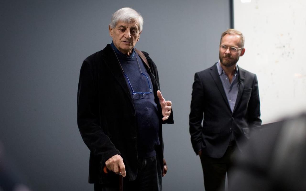 Gianfranco Baruchello at the opening of the exhibition »Certain Ideas« at the ZKM.