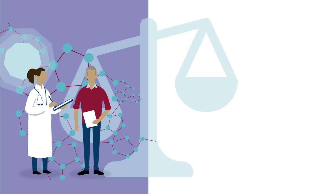Eine Grafik mit einer Ärztin und einem Patienten vor einem Lila Hintergrund mit einer hellblauen Waage.