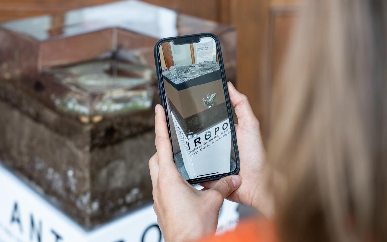 Zu sehen ist eine Person, welche die Installation mittels AR über das Smartphone betrachtet