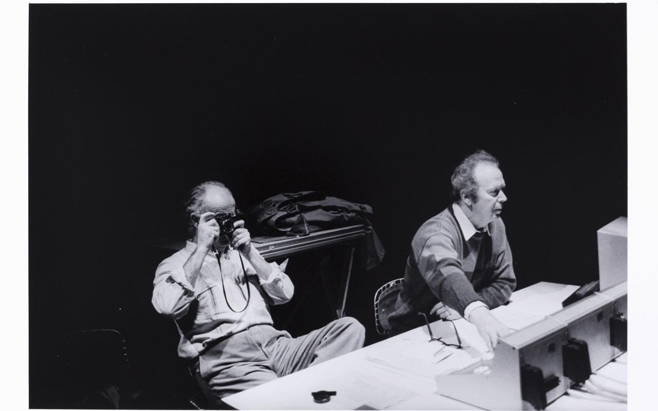 Luigi Nono (left) with Hans Peter Haller at IRCAM in Paris
