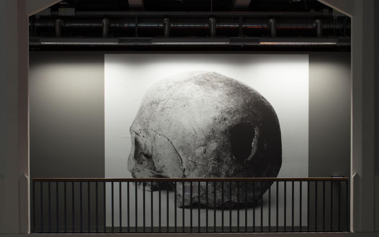 Das Bild zeigt ein Gemälde mit einem Totenkopf.