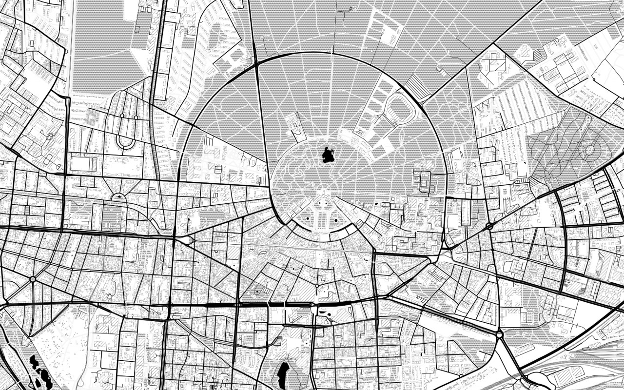 The picture shows a black and white map of Karlsruhe