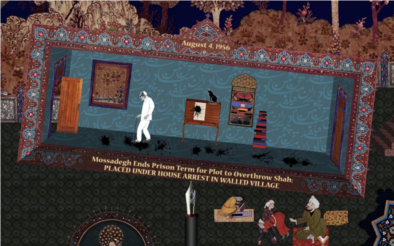Ein Raum mit einem Mann in einem weißen Anzug, einer schwarzen Katze auf einer Kommode und schwarzen Flecken auf dem Boden