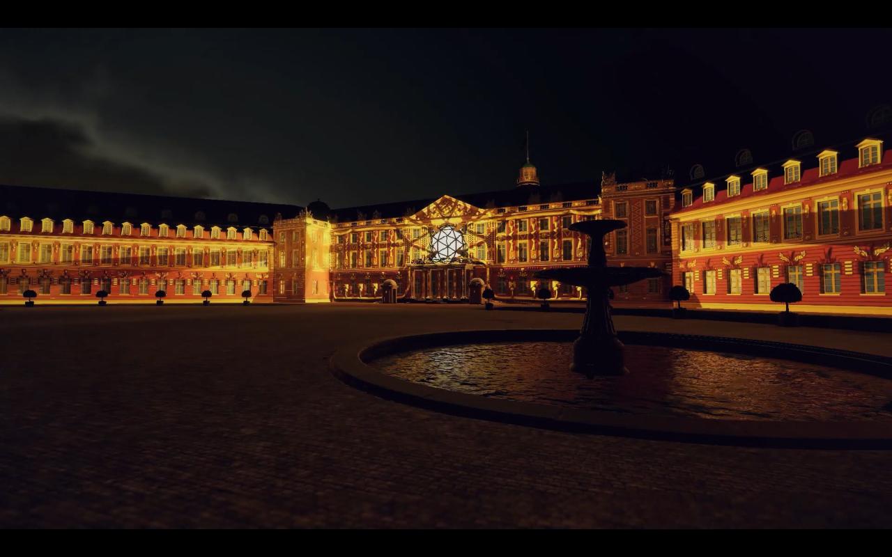 Das Karlsruher Schloss zeigt ein Kunstwerk aus Licht auf seiner Fassade. Es sieht realistisch aus, ist jedoch ein computergeneriertes Bild.