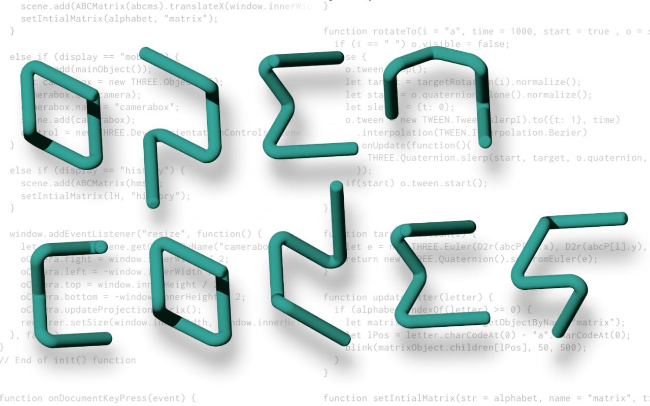 Zu sehen ist das Logo von »Open Codes« in türkiser Farbe auf weißem Hintergrund mit hellgrauem Code darauf