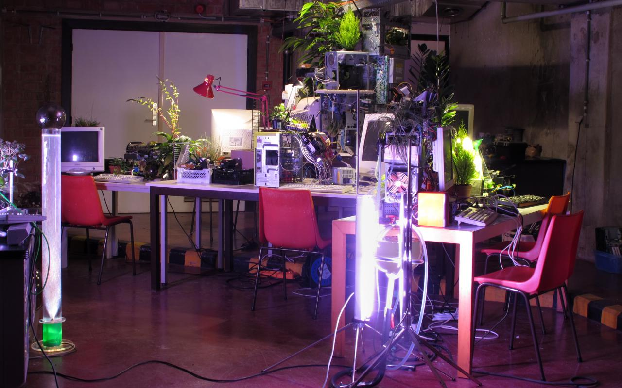 There is a hodge-podge of plants computers, screens and desklamps on a table.