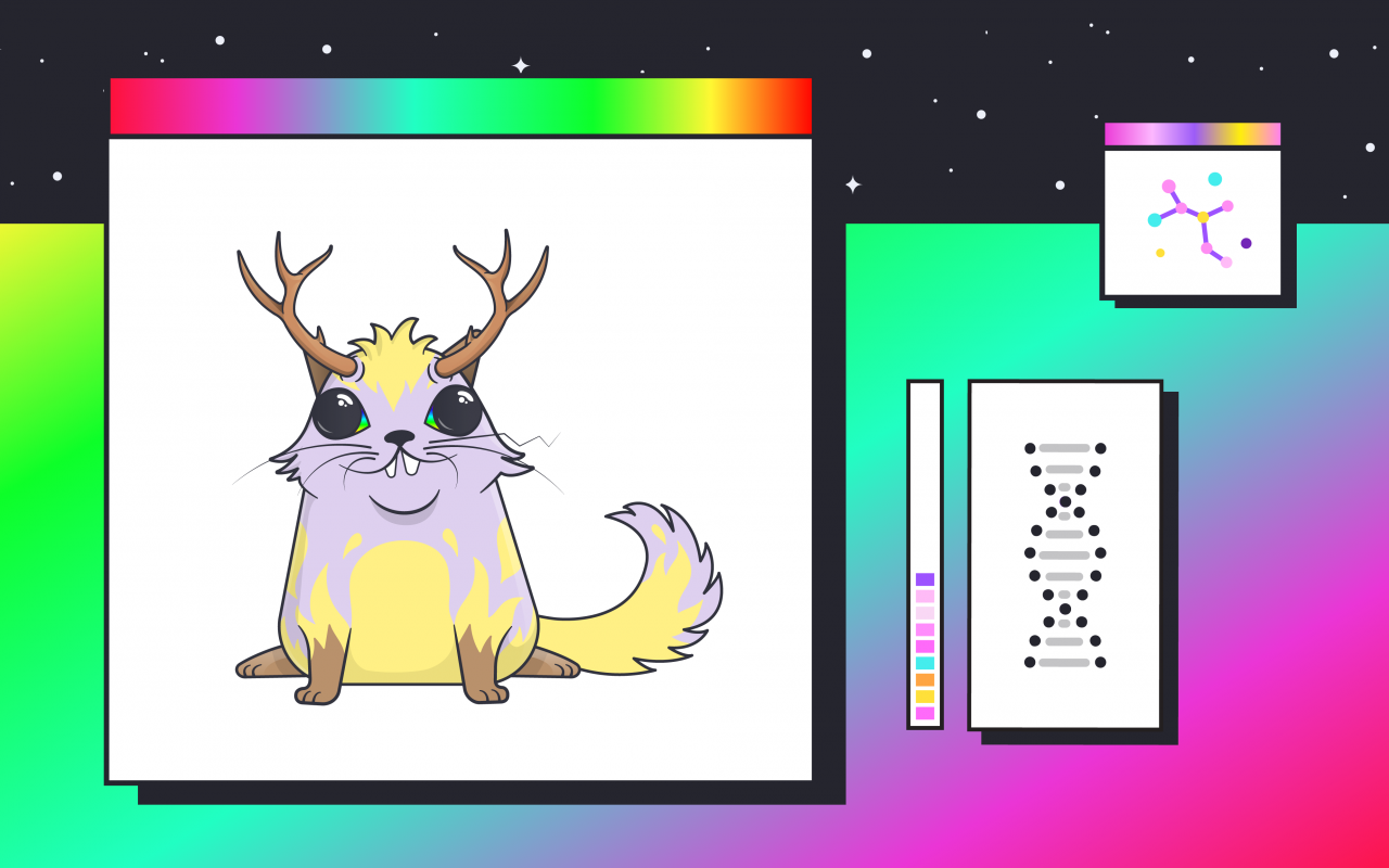The picture shows a so-called cryptokitty and a DNA helix.