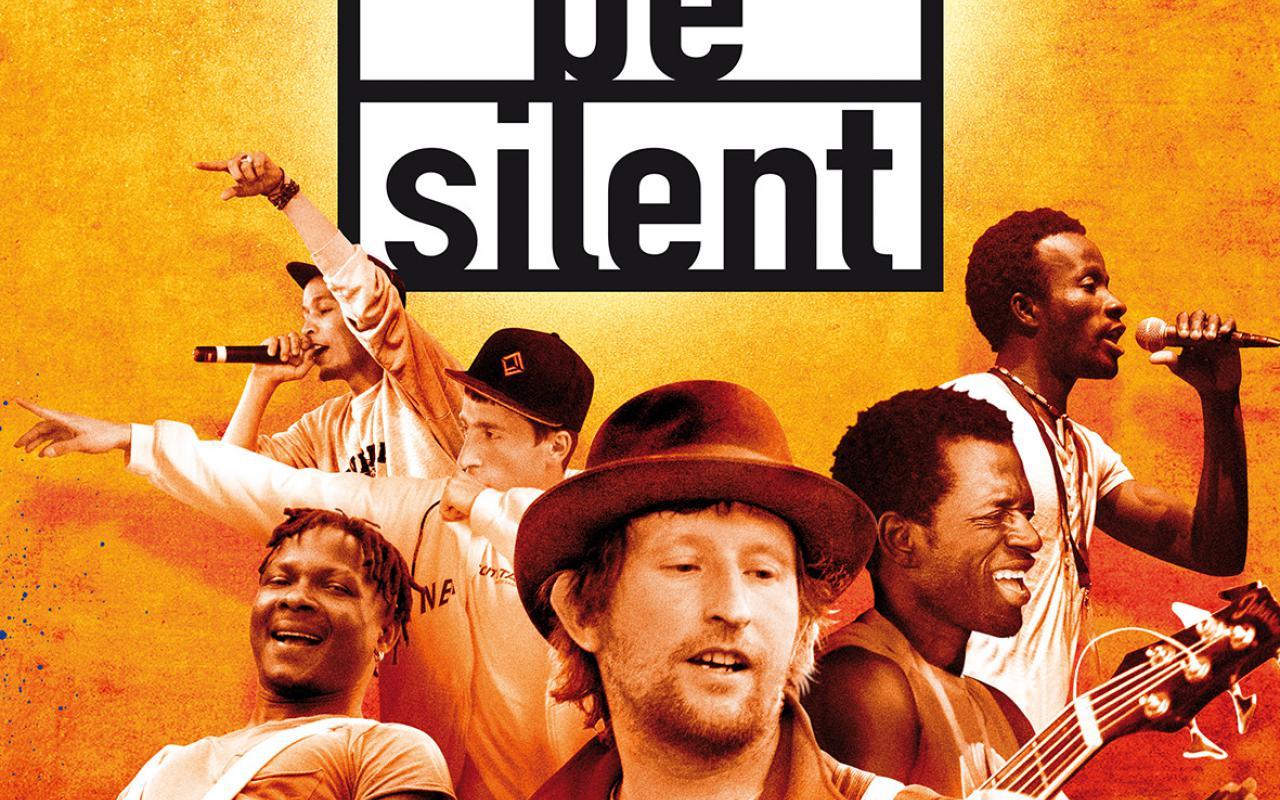 Sechs Musiker auf einem Filmplakat