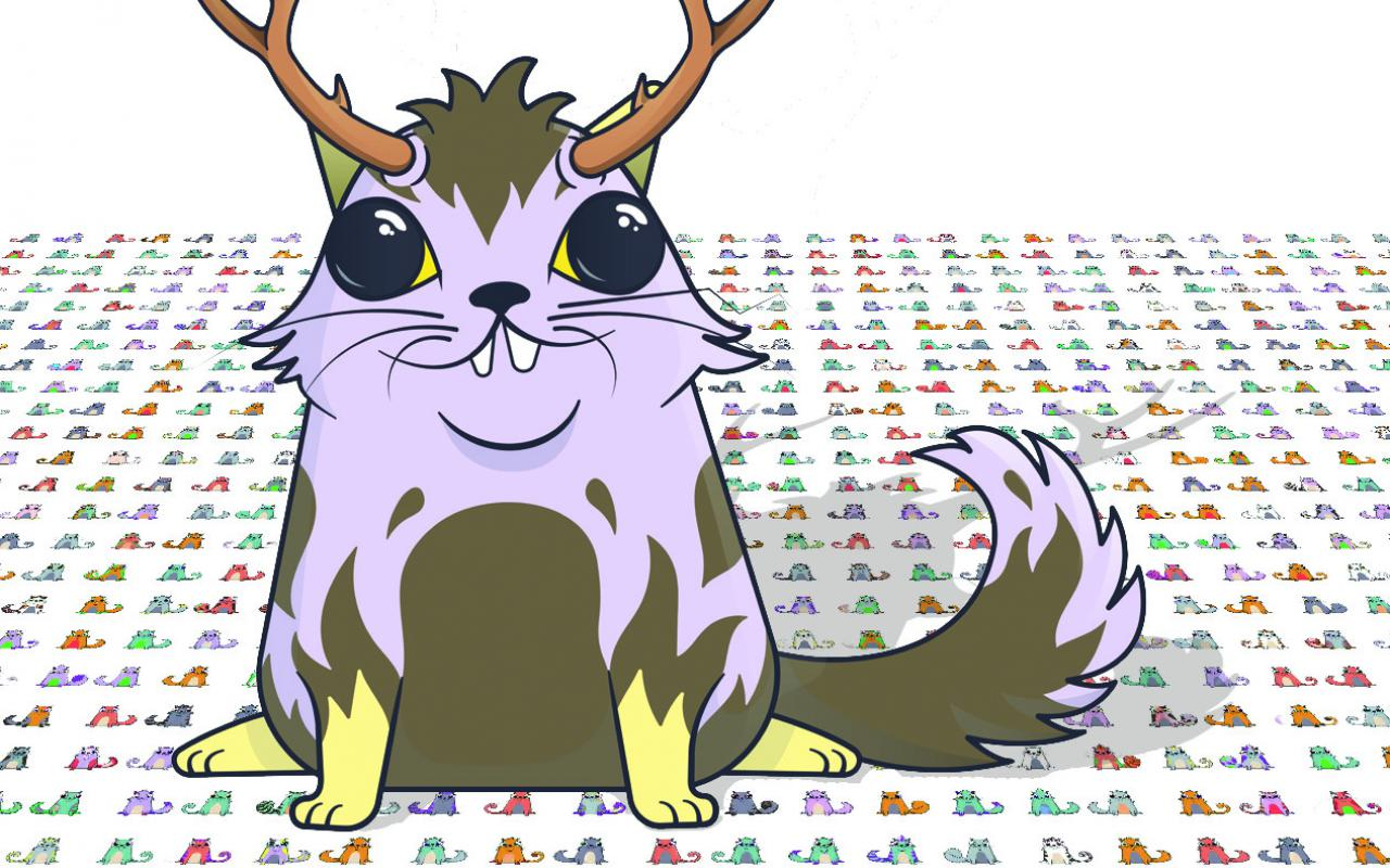 The graphic shows a so-called cryptokitty, a purple cat with deer antlers.