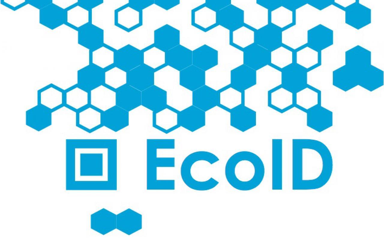 Das Bild zeigt einen blauen QR Code mit der Unterschrift »EcoID«
