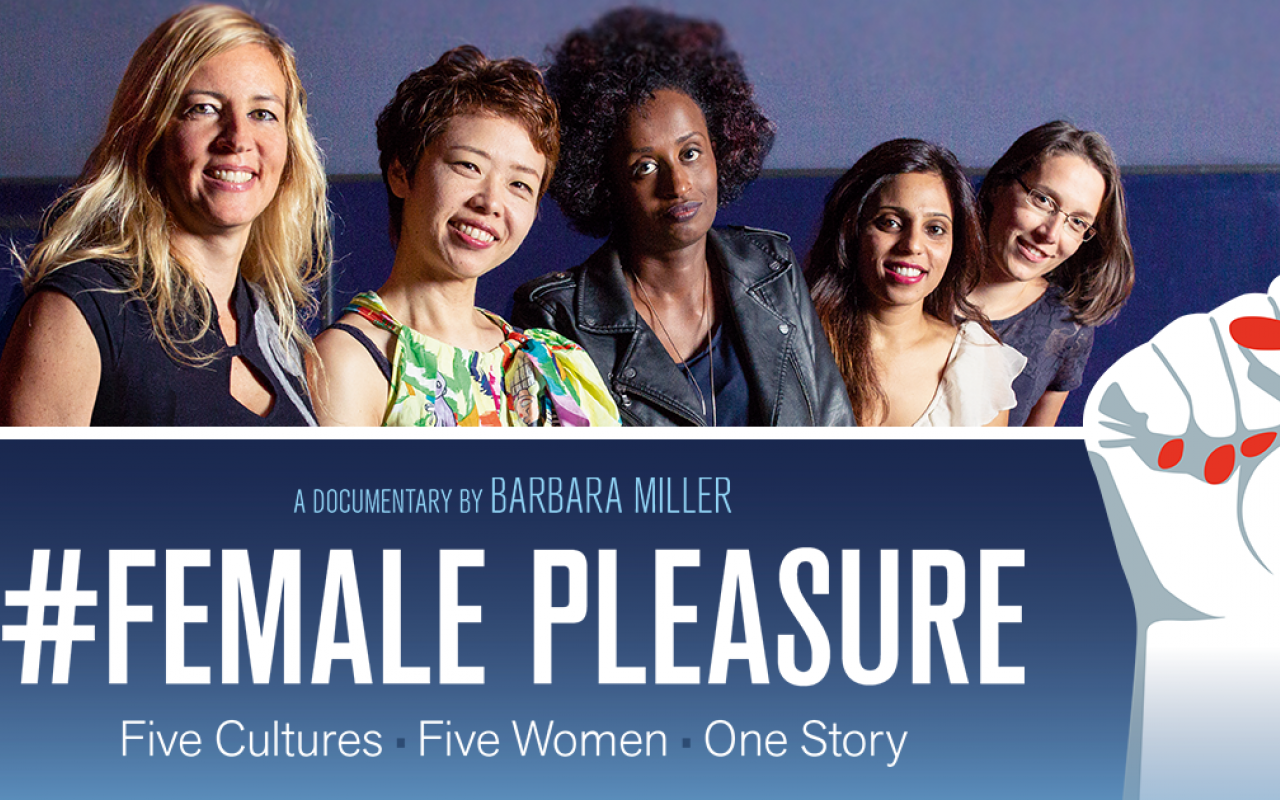A photo with five women from different cultures, including a banner with the words »#Female Pleasure«.