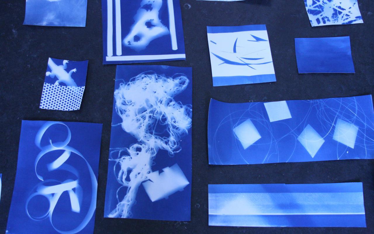 Auf dem Bild sind mehrere Fotogramme mit abstrakten Formen abgebildet, die auf dem Boden ausgebreitet wurden.