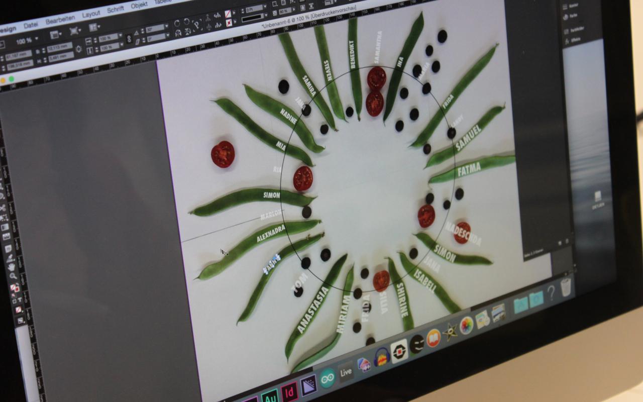 Ein Computerbildschirm mit einem Kreisdiagramm bestehend aus Bohen und Tomaten auf denen Namen eingetragen sind.