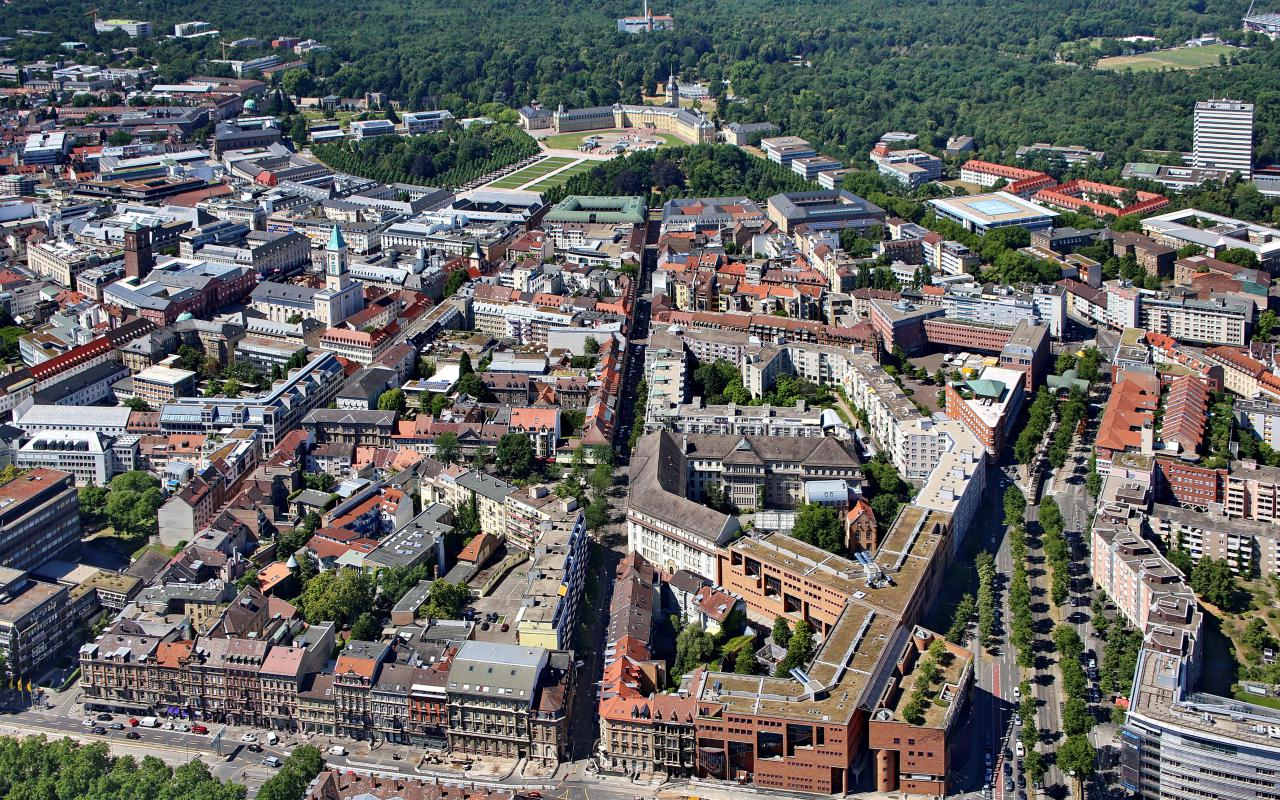 Bird's eye-view on the city of Karlsruhe