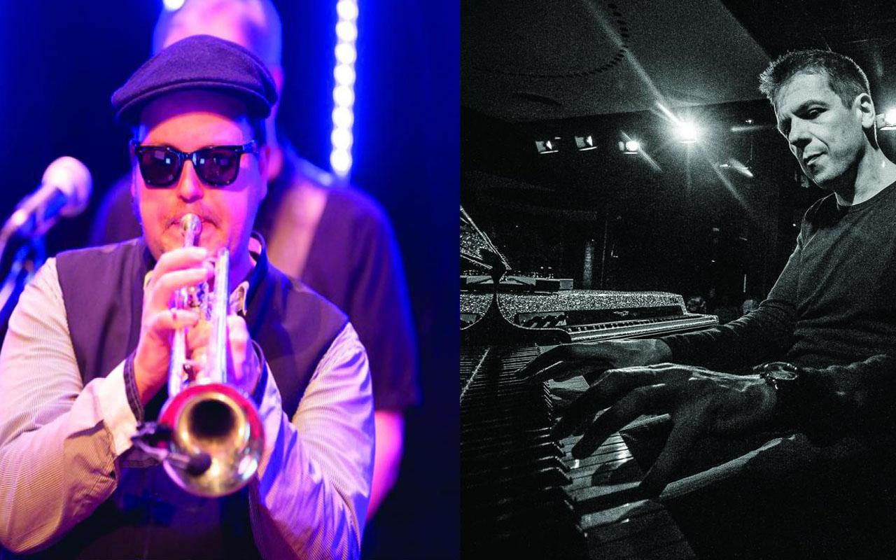A photomontage of two portraits. On the left the frontal profile of a man with sunglasses, hat and trumpet. On the right the side profile of a man at the piano.