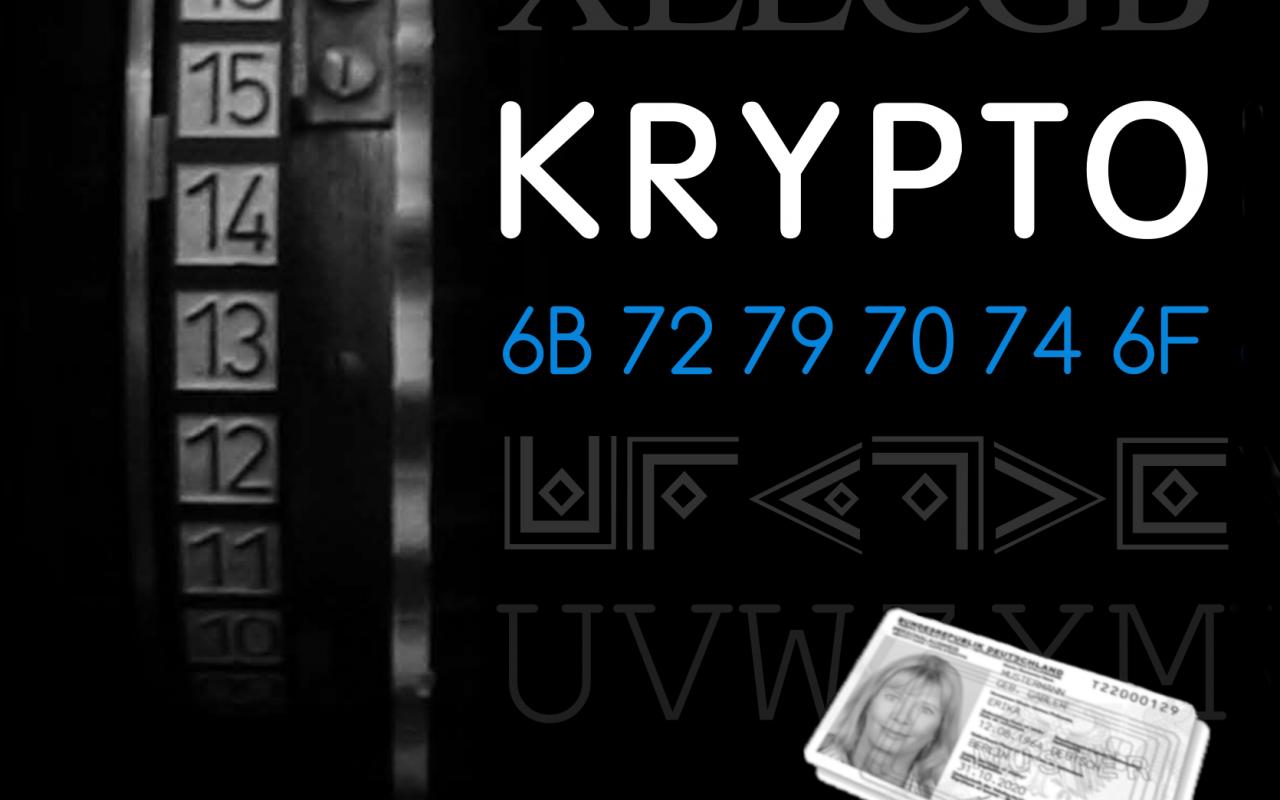 Das Bild zeigt verschlüsselte kryptographische Informationen und einen Personalausweis