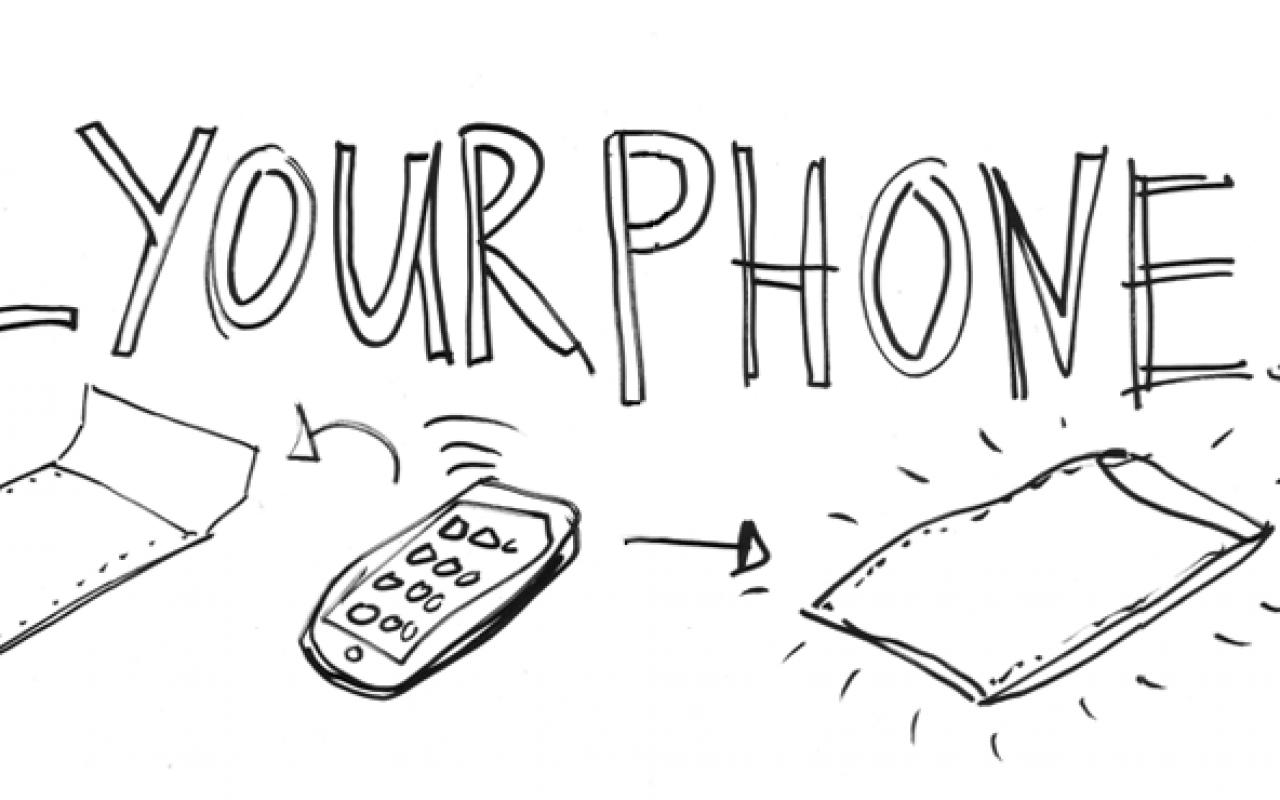 Die URL killyourphone.com ist per Hand in schwarzen Großbuchstaben geschrieben, darunter die Zeichnung in Form einer Anleitung von einem Handy, das in eine spezielle Hülle gesteckt werden soll, um es abzuschirmen.