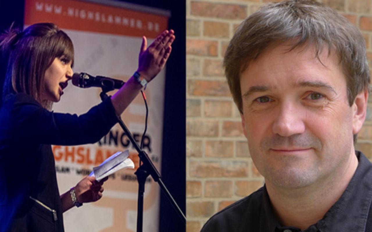 Eine Fotomontage von zwei Portraits. Links das Seitenprofil einer jungen Frau, rechts das frontale Kopfprofil eines Mannes.