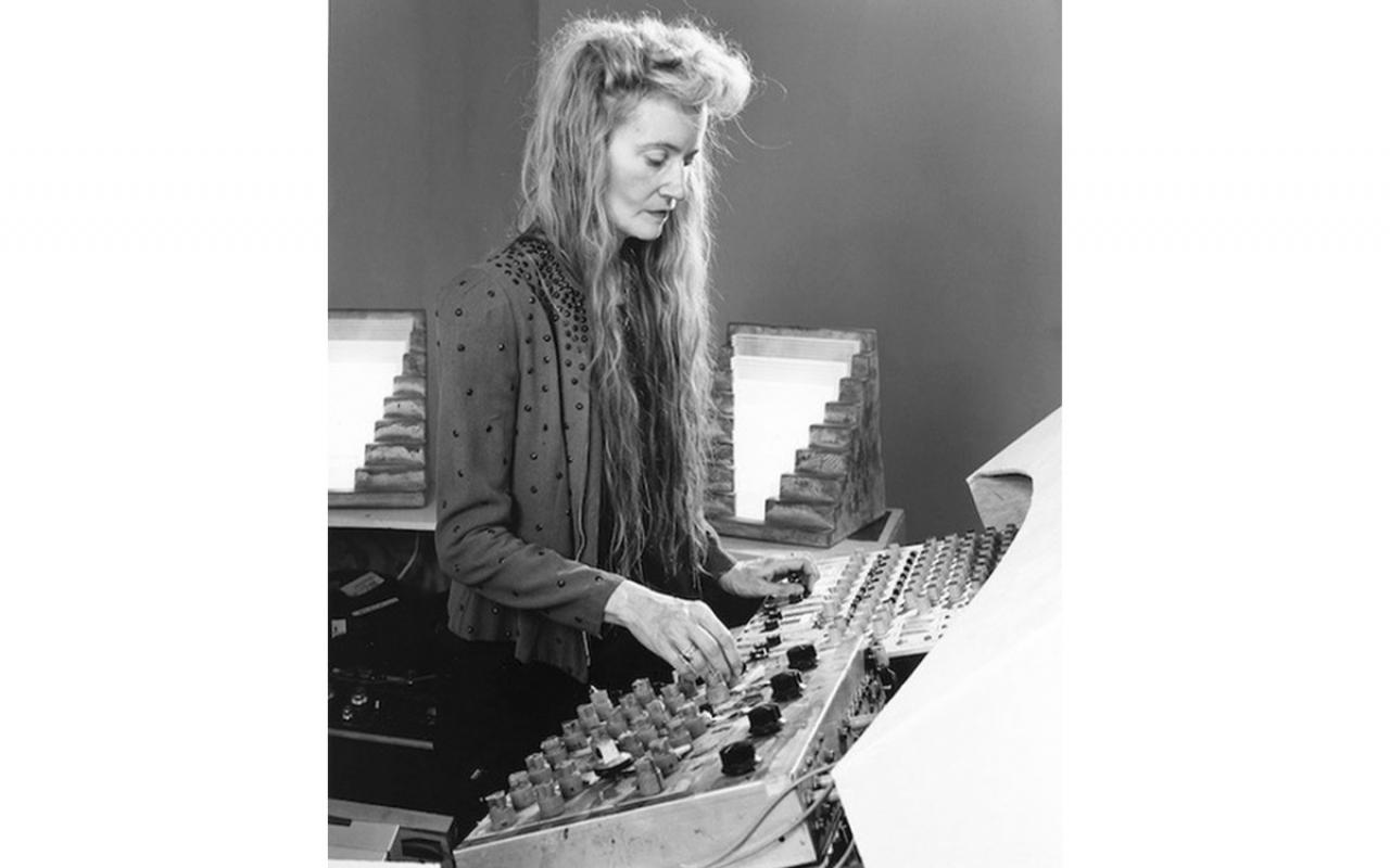 Maryanne Amacher in front of a mixing desk