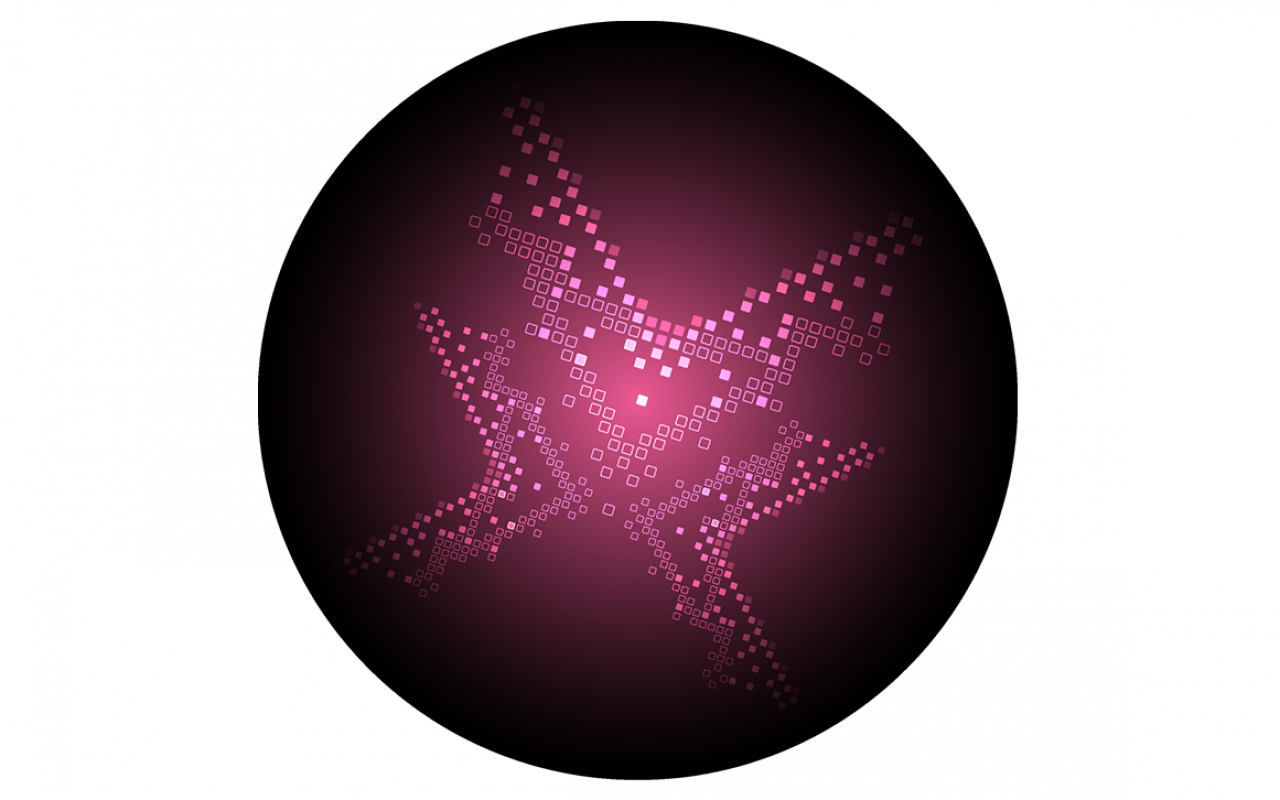 Magenta ball with square elements