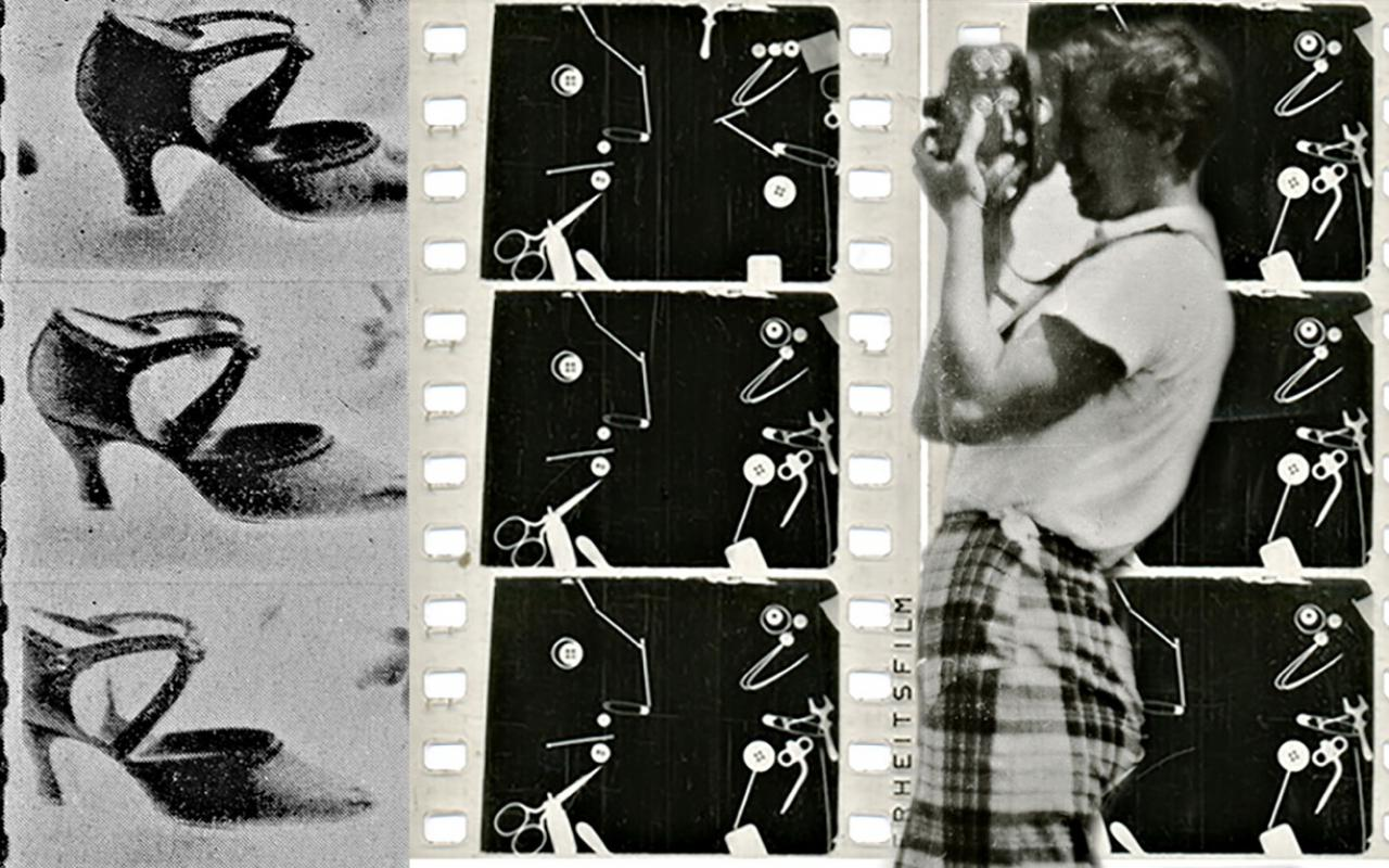 A photomontage of three film strips in black and white, in front a person with a camera.