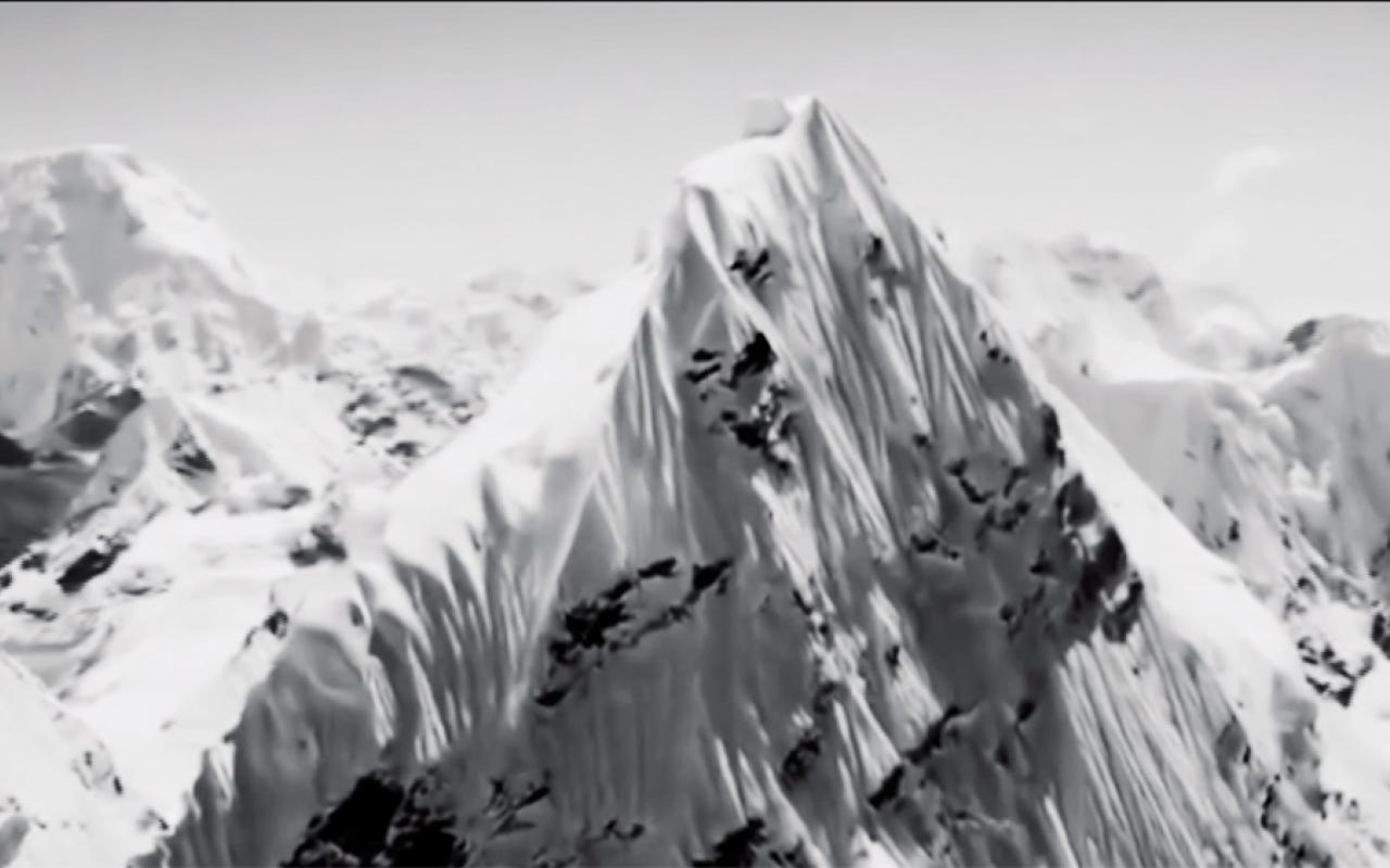 """A snow-covered mountain range. Excerpt from the film """"Nature"""" by Artavazd Pelechian"""