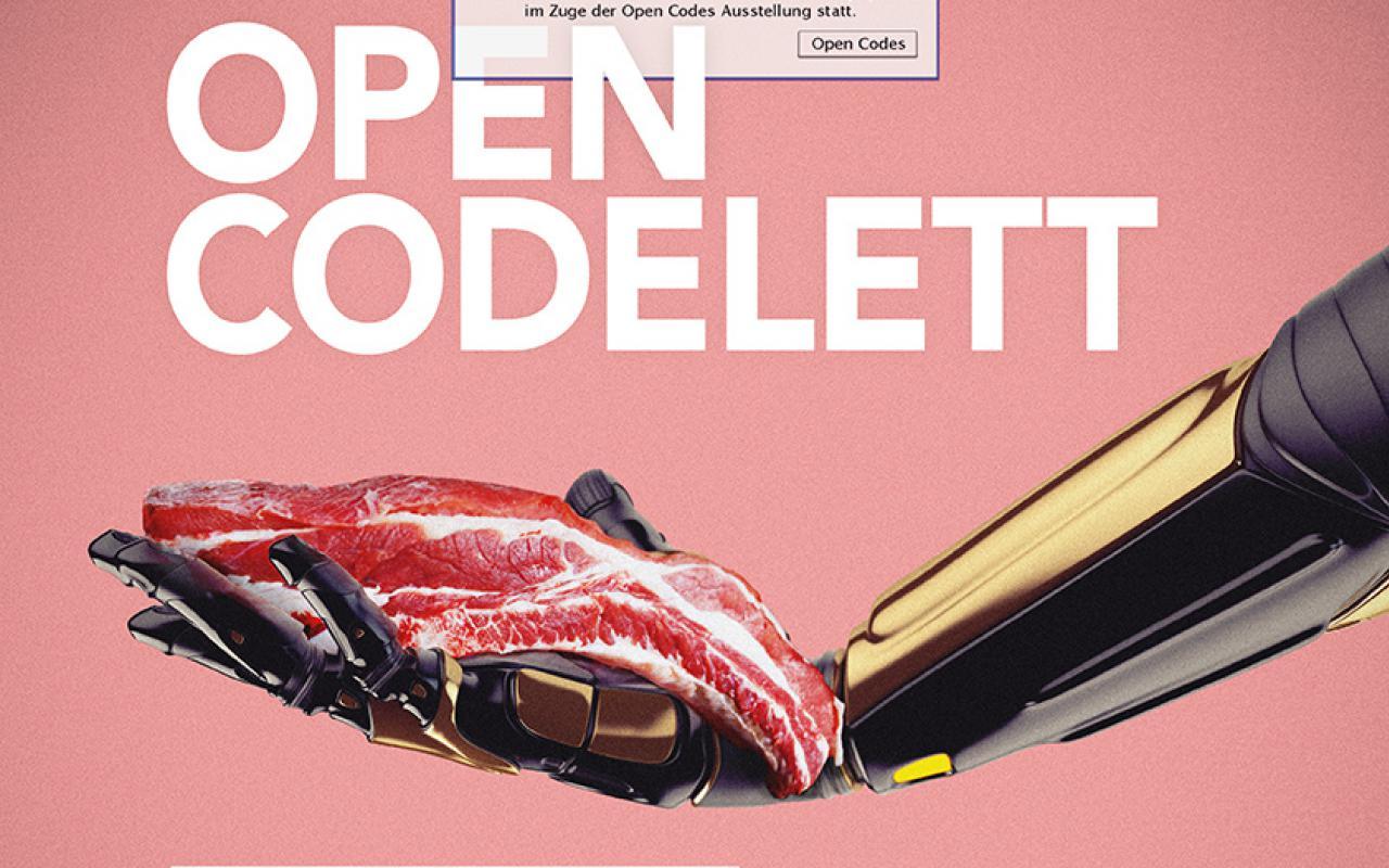 Das Plakat mit dem Titel »Open Codelett«zeigt einen Roboterarm, der ein Codelett in der Hand hält.