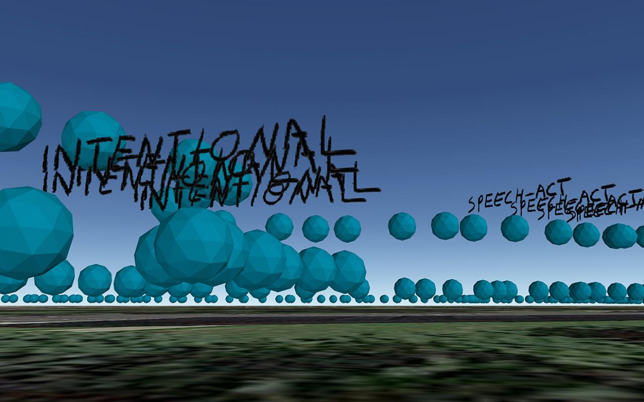 Writing »To Walk a Word: Intentional« in front of a virtual landscape with blue spheres.